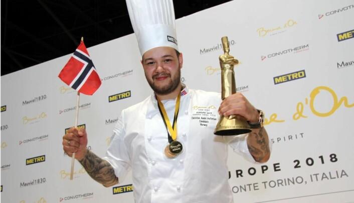 Christian A. Pettersen etter gullet i Bocuse d'Or Europe i Torino. (Foto: Morten Holt)