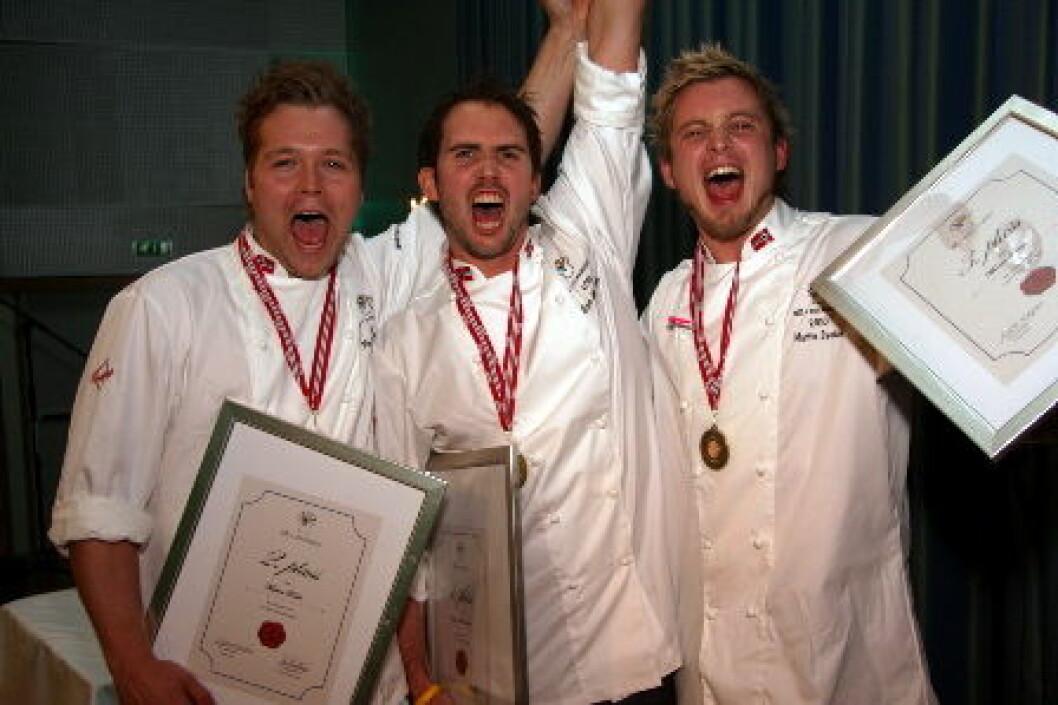 De tre beste i NM kokkekunst i 2010. (Foto: Morten Holt)