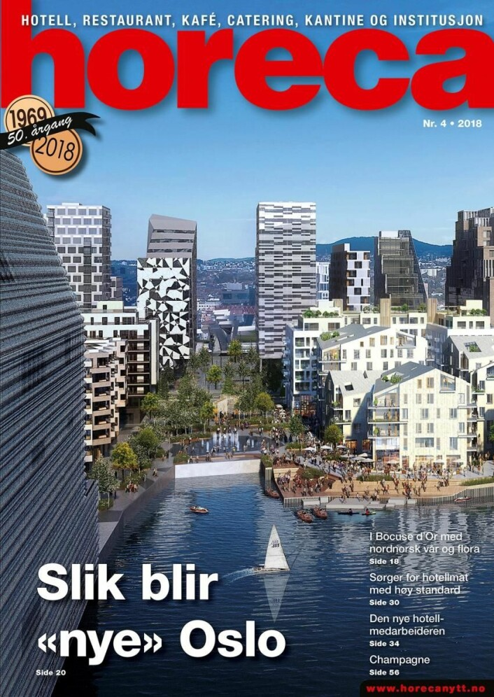 Forsiden på Horeca nummer 4 2018. (Illustrasjon: Via Nova/Oslo S Utvikling/layout: Tove Sissel Larsgård)