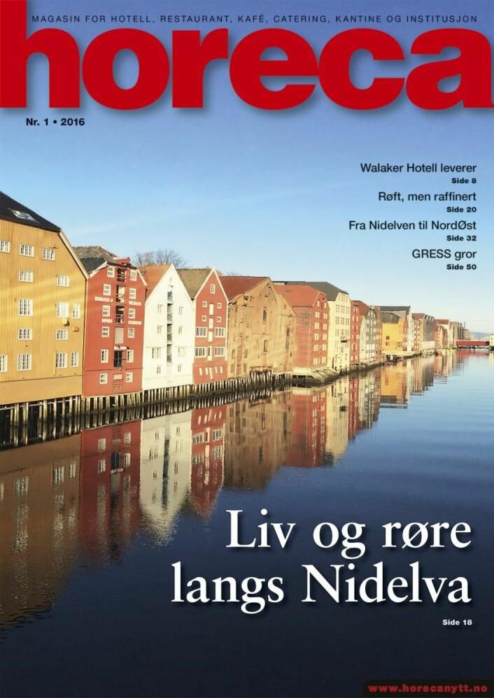 Omslaget på det første nummeret av magasinet Horeca i 2016. (Foto: Morten Holt/Layout: Tove Sissel Larsgård)