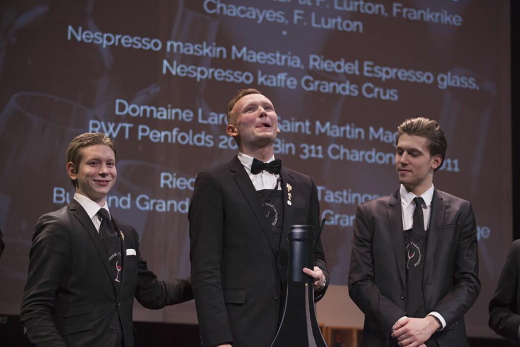 Vinner av Junior Wine Award i 2015 ble Marius Fidje Tjelta (midten).