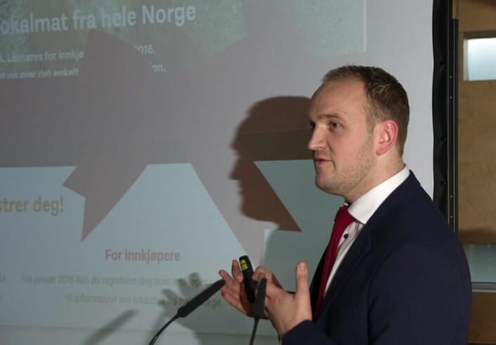 Landbruks- og matminister Jon Georg Dale under lanseringen av Lokalmat.no i dag. (Foto: Georg Mathisen)