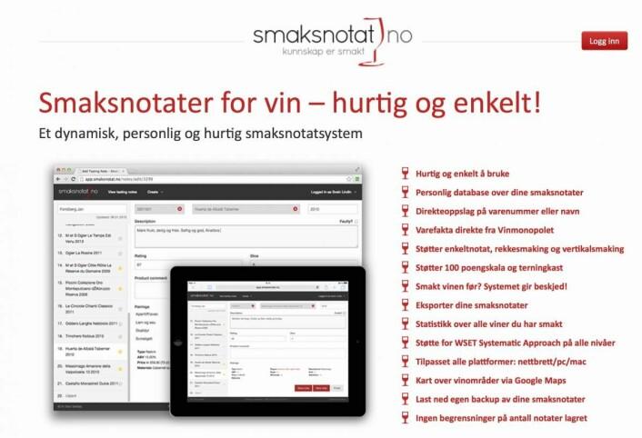 Forsiden på Smaksnotat.no.
