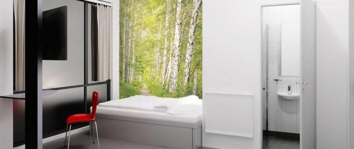 Fra ett av rommene på Yess! Hotel i Kristiansand.