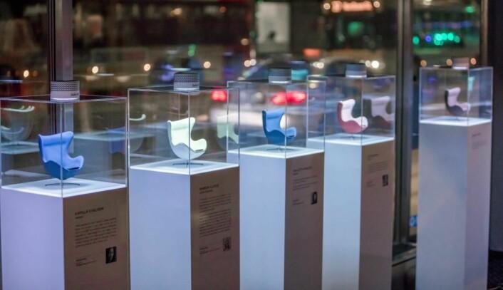 Miniatyrutgaver av Egget, designet i forbindelse med designkonkurransen «Design your own icon». Rickard L. Eriksson.