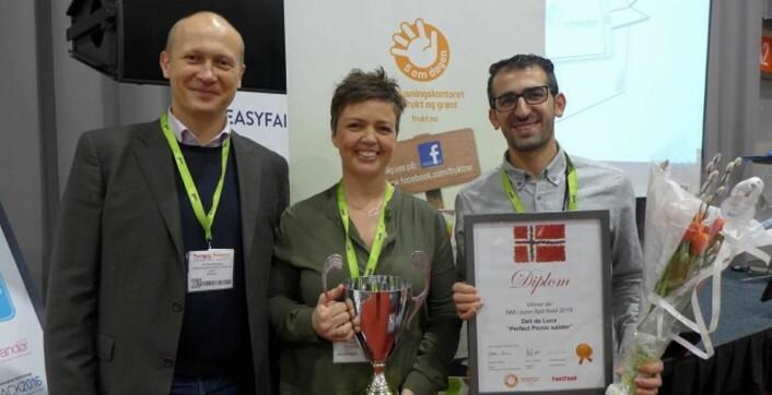 Fra venstre Guttorm Rebnes (direktør i Opplysningskontoret for frukt og grønt), Anne-Katrine Aa (kategorisjef for mat i Deli de Luca) og Shoana Ostadi (som driver Deli's Kitchen).