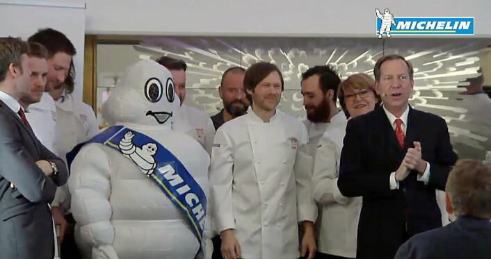 Geranium med Rasmus Kofoed (midten) i spissen fikk også tre stjerner i Guide Michelin. (Printscreen)