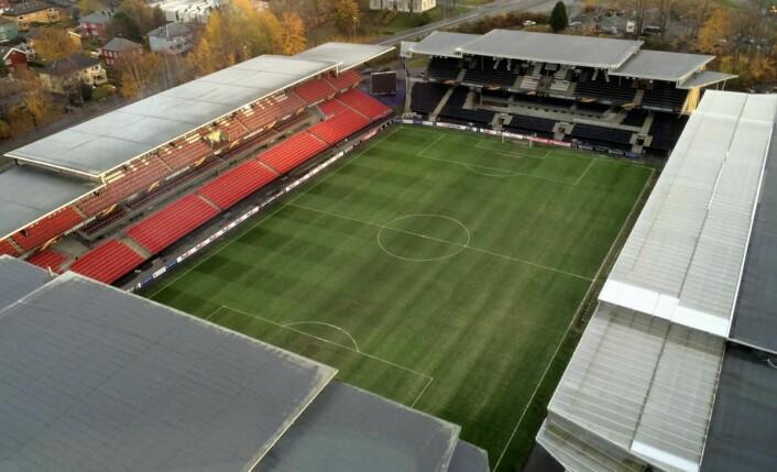 Utsikt mot Lerkendal stadion fra Scandic Lerkendal. (Foto: Morten Holt)