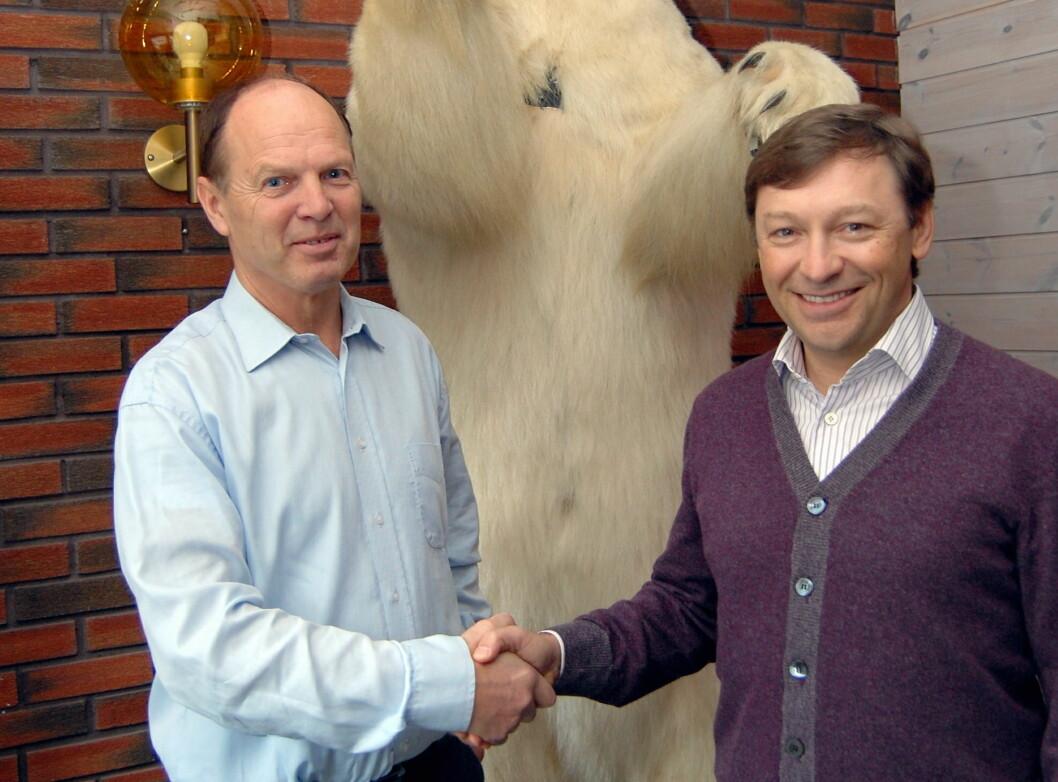 Bjørn Eirik Lohne i Iskrem Is As (til venstre) og majoritetseier i Food Union, Andrey Beskhmelnitskiy.