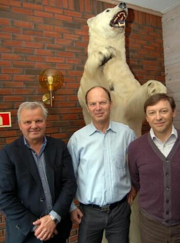 Food Union kjøper Iskrem Is AS. Fra venstre Trond Lohne, Bjørn Eirik Lohne og Andrey Beskhmelnitskiy.