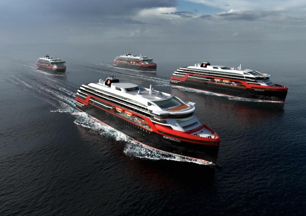 Hurtigruten skal bygge fire nye skip. (Illustrasjon: Hurtigruten)