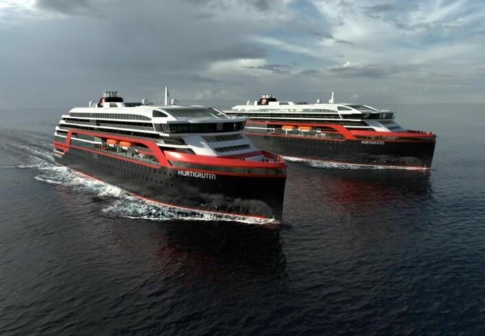 Hurtigruten satser på nye, moderne skip. Skipene er designet og utviklet av Rolls-Royce med bistand fra den anerkjente skipsdesigneren Espen Øino. (Illustrasjon: Hurtigruten)
