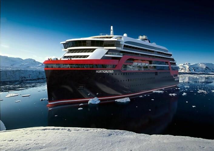 Slik blir Hurtigrutens nye skip. (Illustrasjon: Hurtigruten)