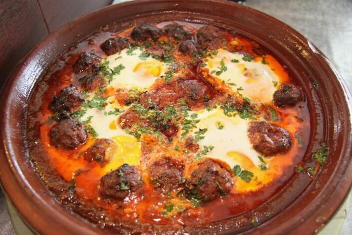 Tajin Kofta (marokkanske kjøttboller i tomatsaus). (Foto: Morten Holt)