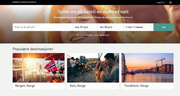 Nettsidene til Nordic Choice Hotels dras frem som positive av Netlife Research. (Printscreen)