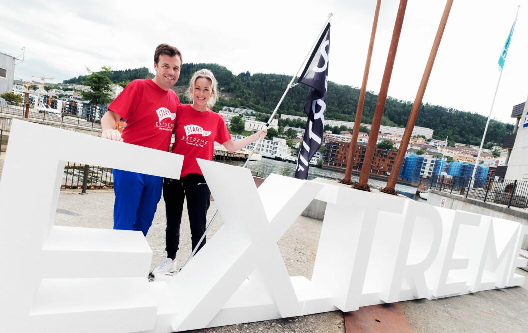 Pål T. Næss er ny gründerdirektør i Innovasjon Norge. Her med administrerende direktør, Anita Krohn Traaseth, på åpningen av Startup Extreme i Bergen i dag. (Foto: Dan Taylor/ Heisenebrg Media)