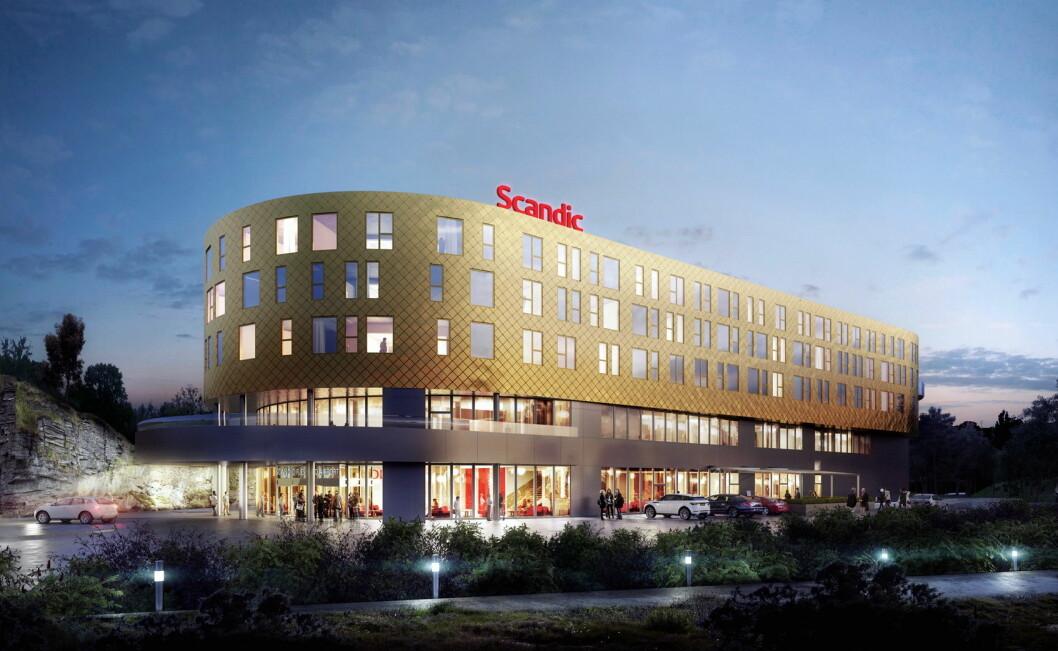 Hotelldirektøren på Scandic Flesland Airport, som åpnes om et snaut år, er klar. (Illustrasjon: Scandic Hotels)