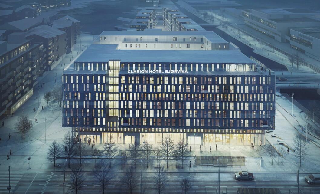 Slik blir Clarion Hotel Bjørvika - sett fra Dronning Eufemias gate. (Illustrasjon: Nordic Choice Hotels)