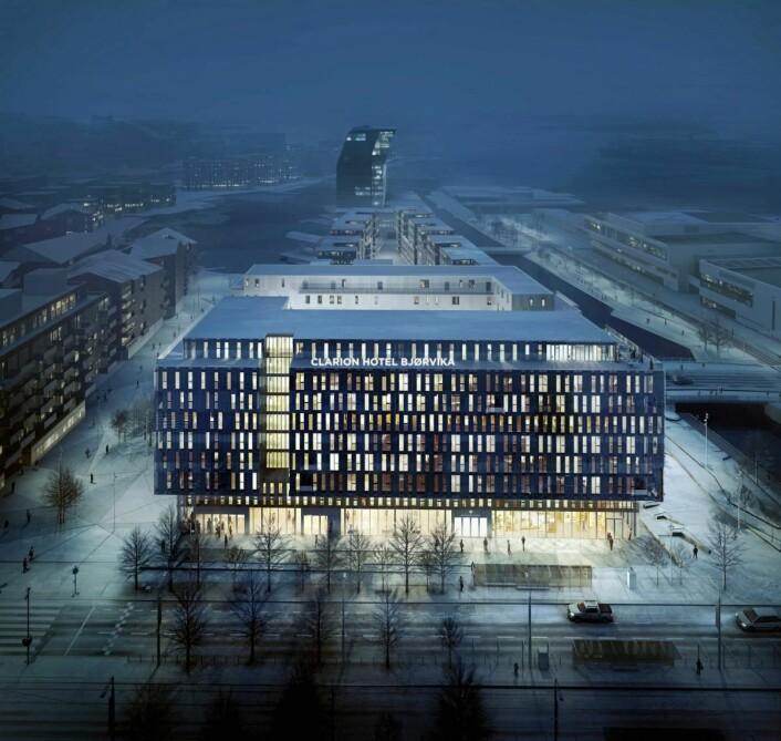 Slik vil Clarion Hotel Bjørvika gli inn i den nye bydelen, ifølge en skisse av hotellet, som skal åpnes i 2019. (Illustrasjon: Nordic Choice Hotels)