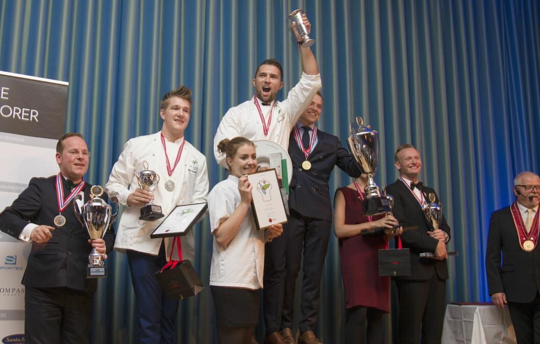Øyvind Bøe Dalelv er vinner av NM i kokkekunst 2016. (Foto: NKL)