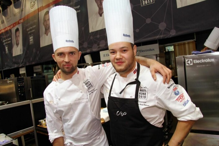 Øyvind Bøe Dalelv sammen med barndomskompis Christian A. Pettersen i Årets kokk i fjor. De to ble nummer to og tre i den konkurransen. (Foto: Morten Holt)