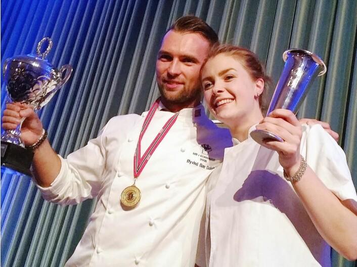 En meget fortjent seier! mente alle etter at Statholdergaarden-duoen Øyvind Bøe Dalelv og Runa Kvendseth vant NM i kokkekunst 2016. (Foto: NKL)