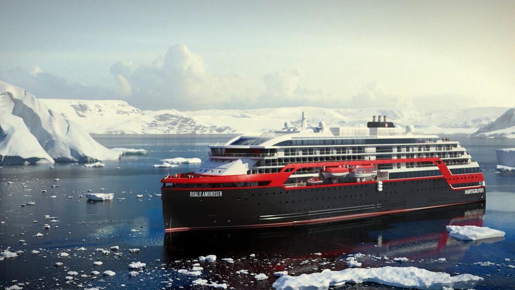 De nye ekspedisjonsskipene til Hurtigruten døpes MS «Roald Amundsen» og MS «Fridtjof Nansen» og skal ta opplevelseshungrige gjester på ekspedisjoner til unike destinasjoner. (Foto: Illustrasjon: Hurtigruten)