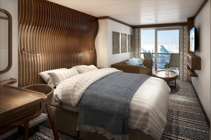 Seks av ti lugarer på Hurtigrutens to nye ekspedisjonsskip får private balkonger der gjestene kan nyte den samme utsikten som norske polarhelter hadde i sin storhetstid. Alle lugarene er preget av lyst, moderne norsk interiør. (Foto: Illustrasjon: Hurtigruten)