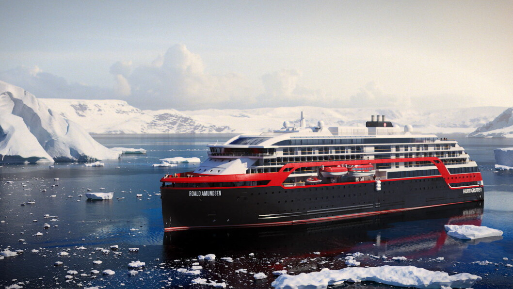 Illustrasjon av det nye hybridskipet til Hurtigruten, MS Roald Amundsen.