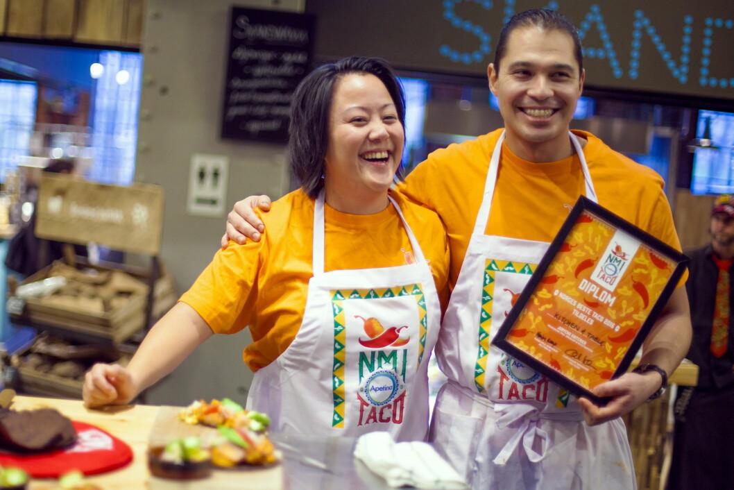 Cecilie Kirkebø og Edwin Rivas fra Kitchen & Table i Bergen vant i dag NM i taco, som ble arrangert i Mathallen i Oslo.