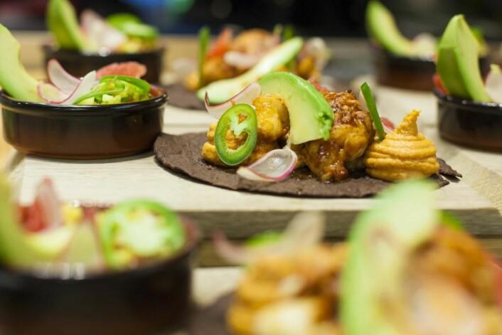 Vinnertacoen, med sjøkreps, chorizo og ananas, laget av Cecilie Kirkebø og Edwin Rivas<u> </u> fra Kitchen &amp; Table i Bergen.