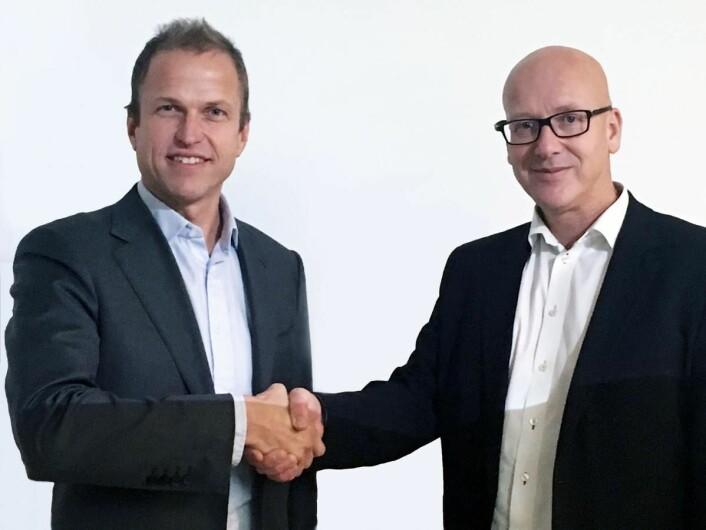 Geir Inge Stokke, konsernsjef i Coop Norge og Norsk Gjenvinnings konsernsjef, Erik Osmundsen.
