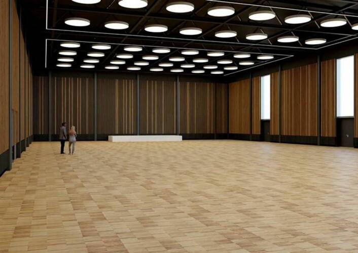 Slik er den nye kongresshallen tenkt. (Illustrasjon: LPO Arkitekter)