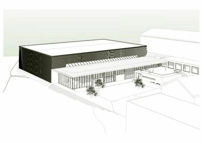 Den nye kongresshallen på Sundvolden Hotel skal etter planen stå ferdig høsten 2017. (Illustrasjon: LPO Arkitekter)