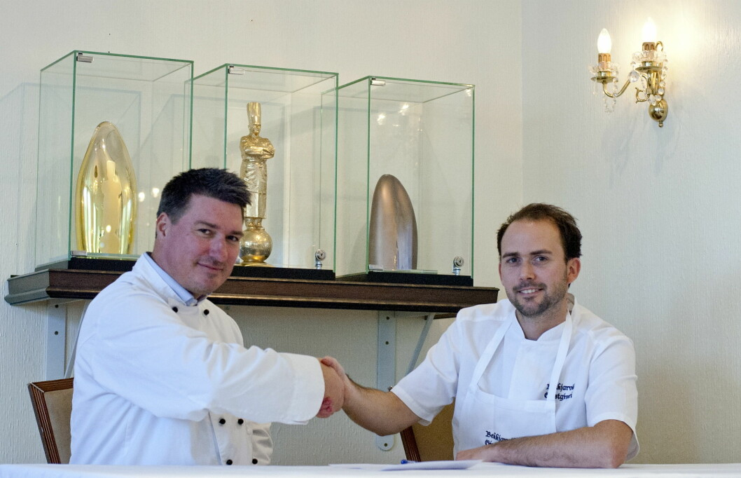 Nobel Caterings produktsjef Roy Hansen og Bocuse d'Or-vinner Ørjan Johannesen.