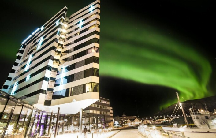 Clarion Hotel The Edge i nordlys. (Foto: Hotellet)