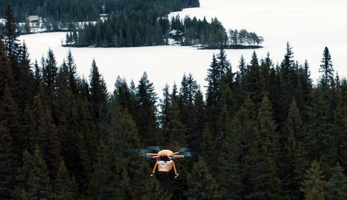 Fra Kolonial.nos forsøk med matlevering med drone. (Foto: Kolonial.no)
