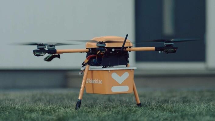 Kolonial.no gjør forsøk med matlevering med drone. (Foto: Kolonial.no)