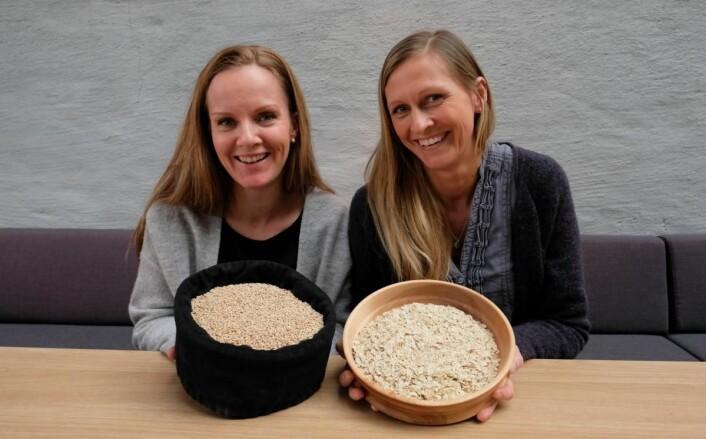 Duga-byggets anvendelighet,smak,positive helseeffekter og næringsinnhold er fokuset tilmarkedsansvarlig,Anne-Marte Røen Bye (til venstre) ogproduktutviklerAnne Marthe Løken. (Foto: Mats Olsen/Regional Matkultur)