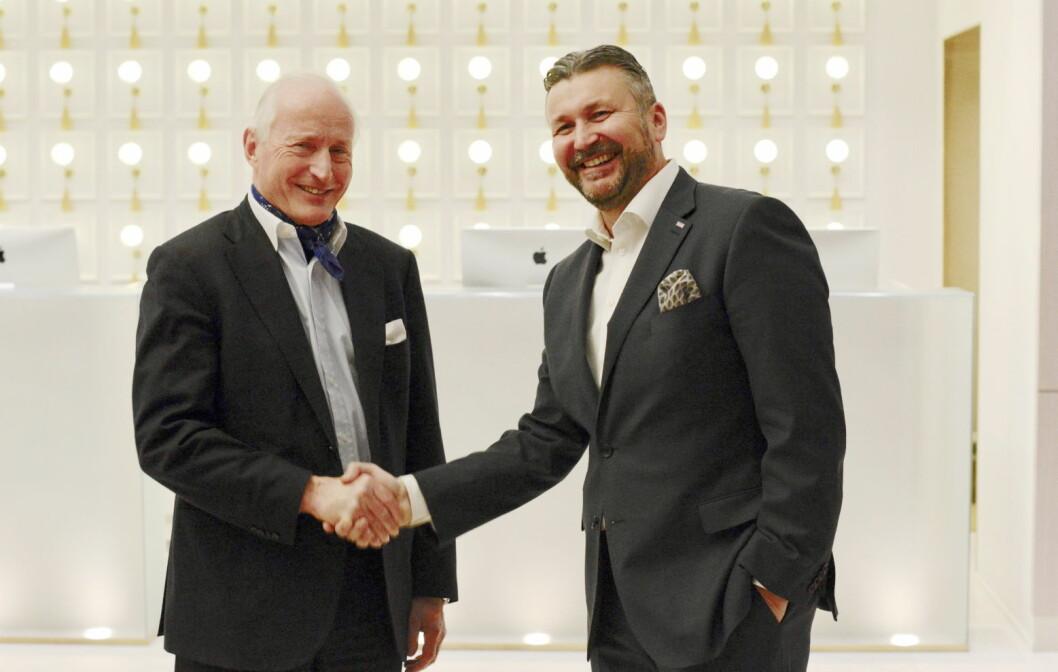 Christian Ringnes i Eiendomsspar og administrerende direktør i Scandic Hotels Norge, Svein Arild Steen-Mevold.