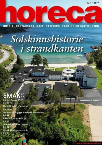 Omslaget på Horeca nummer 1 2017. (Foto: Strand Hotel Fevik/layout: Tove Sissel Larsgård)