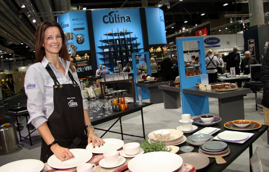 Mette Vangen fra Culina Oslo på Culinas stand, en av de største, på Smak 2017. (Foto: Morten Holt)