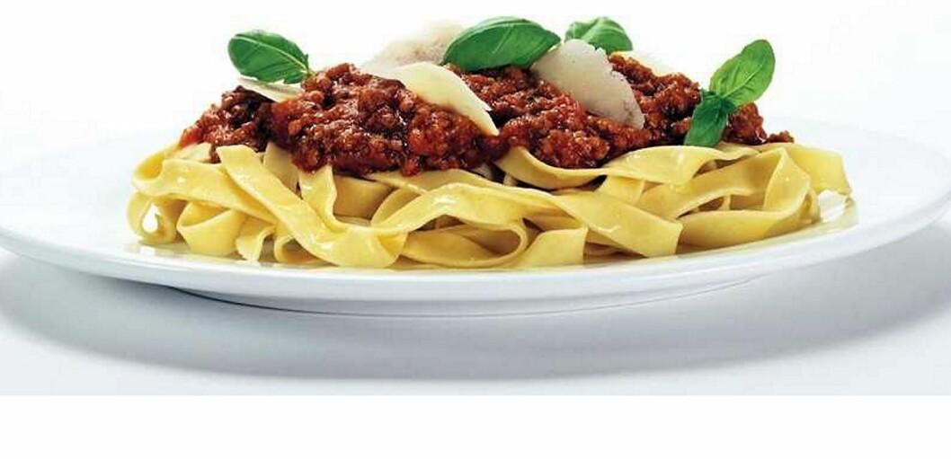 Snart kan du servere pasta med vegetar-kjøttdeig til gjestene dine.  (Foto: Nortura)