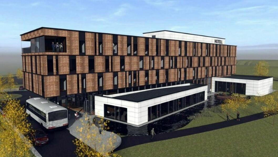 Slik blir hotellet på Brennemoen, mellom Askim og Mysen, når det står ferdig neste år. (Illustrasjon: Lorentz Kielland Arkitekter)
