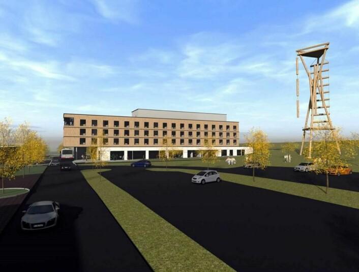 Hotellet i Indre Østfold får 99 rom, og skal være i full drift i august 2018. (Illustrasjon: Lorentz Kielland Arkitekter)