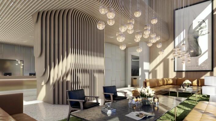 Skisse av den planlagte lobbyen på Radisson Blu Atlantic Hotel.