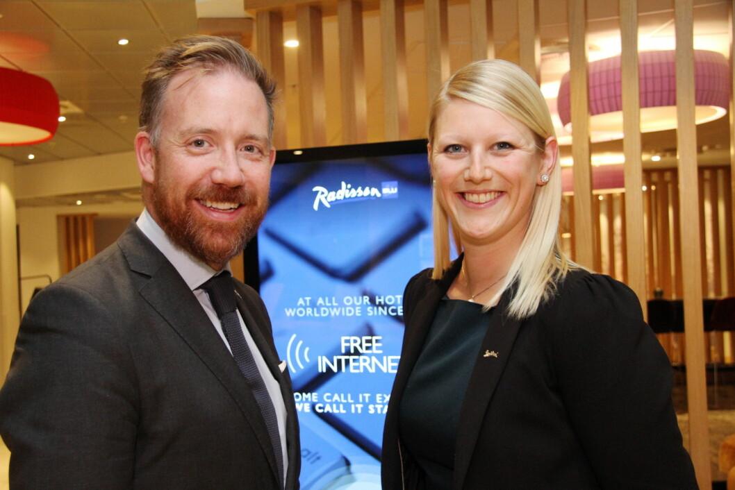 HR-direktør for Norden i Rezidor, Kristoffer Solstad og Helene Hallre. (Foto: Morten Holt)