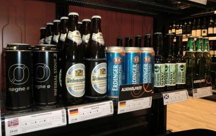 Tilbudet av alkoholfritt øl på Vinmonopolet bare øker. (Foto: Heidi Fjelland)