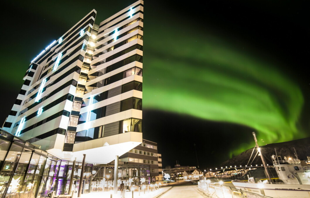Nordlys over Clarion Hotel the Edge. (Foto: Hotellet)