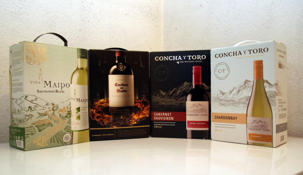 Viña Maipo Sauvignon Blanc, Casillero Del Diablo Cabernet Sauvignon, Concha y Toro Cabernet Sauvignon og Concha y Toro Chardonnay.